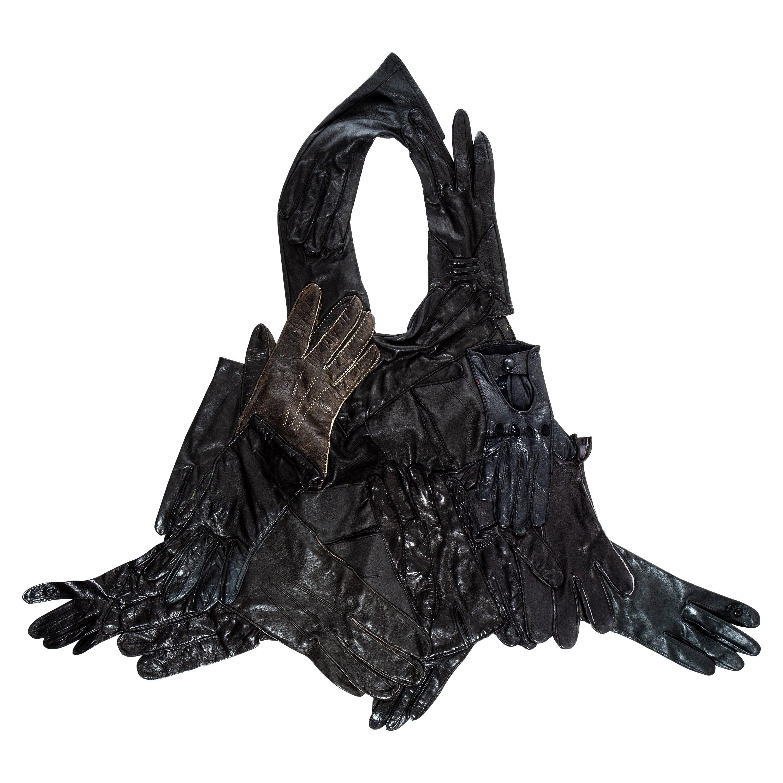 Margiela artisanal black leather glove top, ss 2001