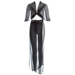 Margiela Artisanal black silk chiffon convertible wrap dress / skirt, fw 2003