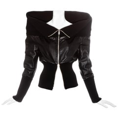 Margiela black leather funnel neck jacket, fw 2008