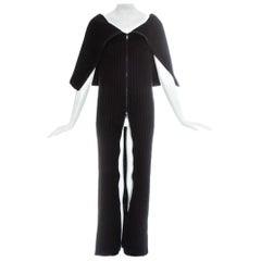 Margiela black rib knit wool tube zipper dress, fw 1998