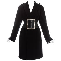 Margiela black wool oversized coat with leather Obi belt, fw 1996