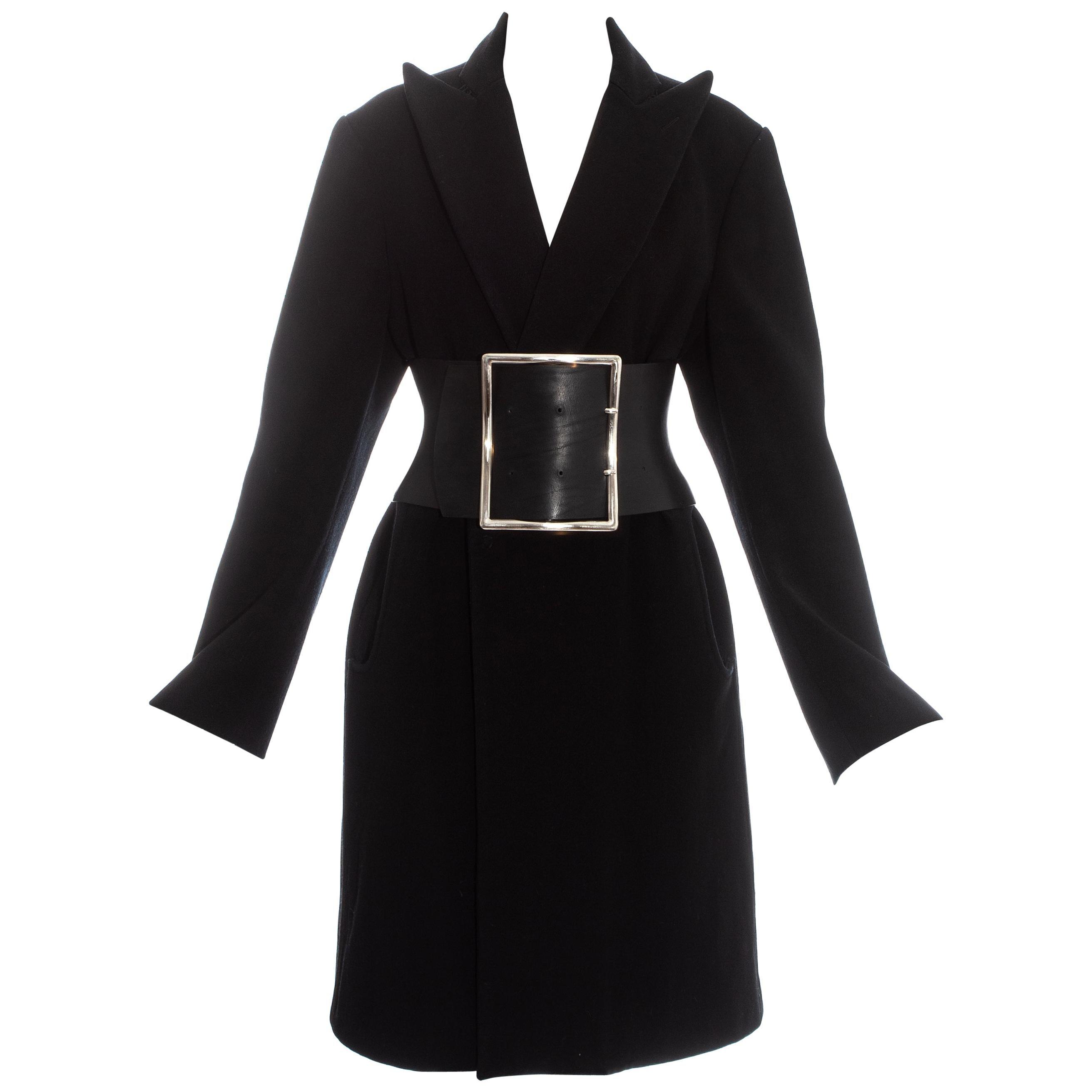 Margiela black wool oversized coat with leather Obi belt, fw 1996