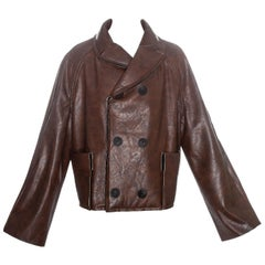 Margiela brown leatherette 'dolls' jacket, fw 1994