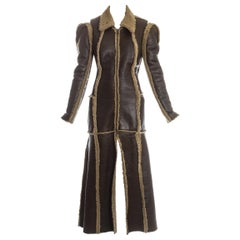 Margiela brown shearling leather 'flat collection' coat, fw 1998