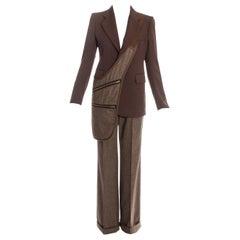 Margiela brown tweed wool pant suit with matching saddle bag, fw 1998