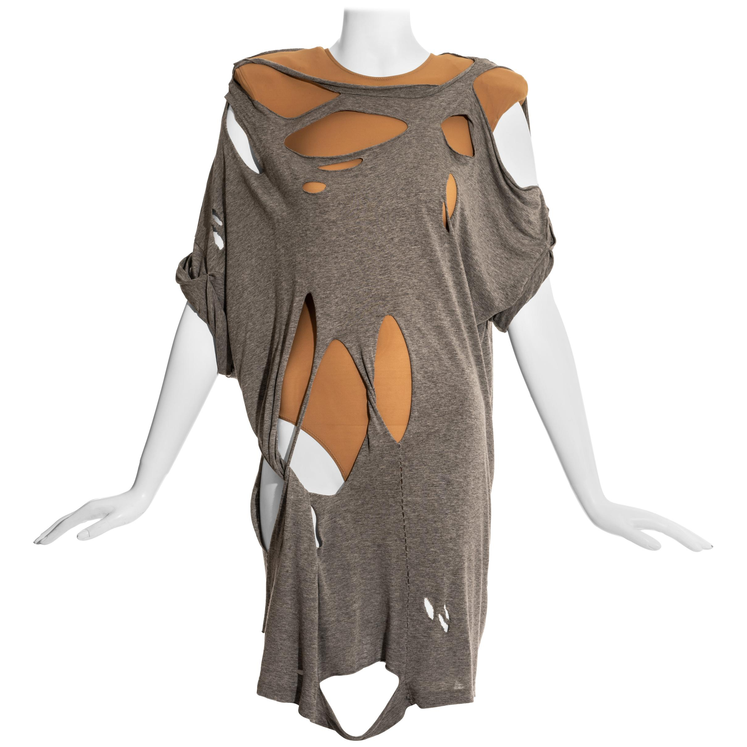 Margiela grey cotton shredded t-shirt and nude lycra bodysuit ensemble, ss 2009