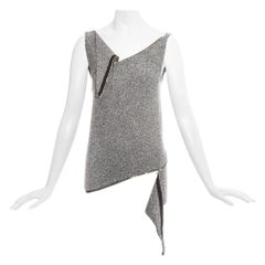 Margiela grey wool Miss Deanna bias cut zipper sweater vest, fw 1998