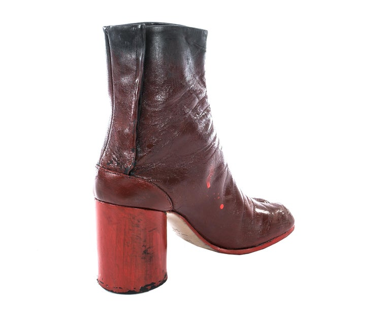 Women's Margiela red leather painted tabi boots, fw 1995 For Sale