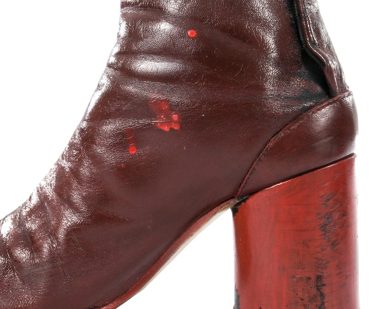 Margiela red leather painted tabi boots, fw 1995 For Sale 2
