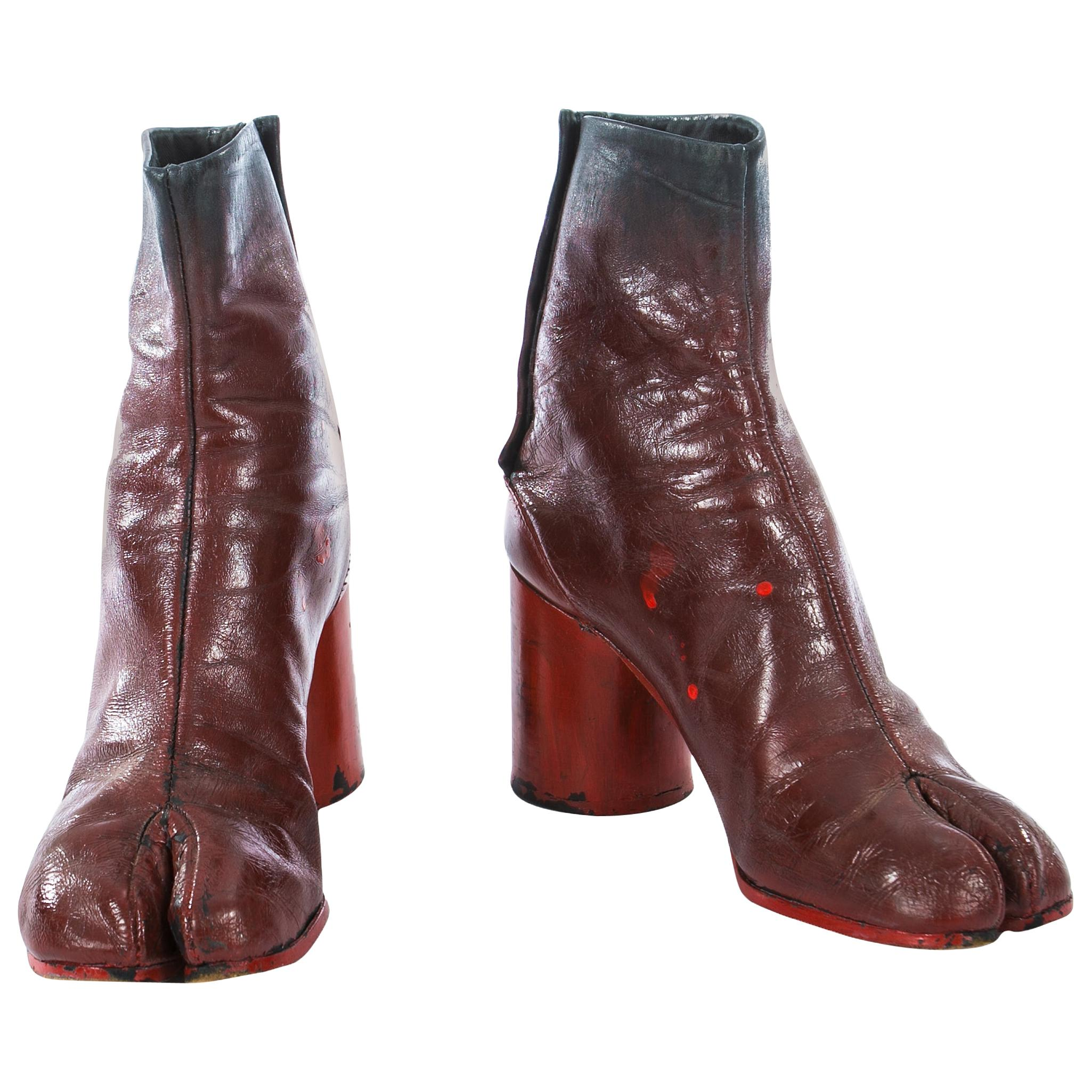 Margiela red leather painted tabi boots