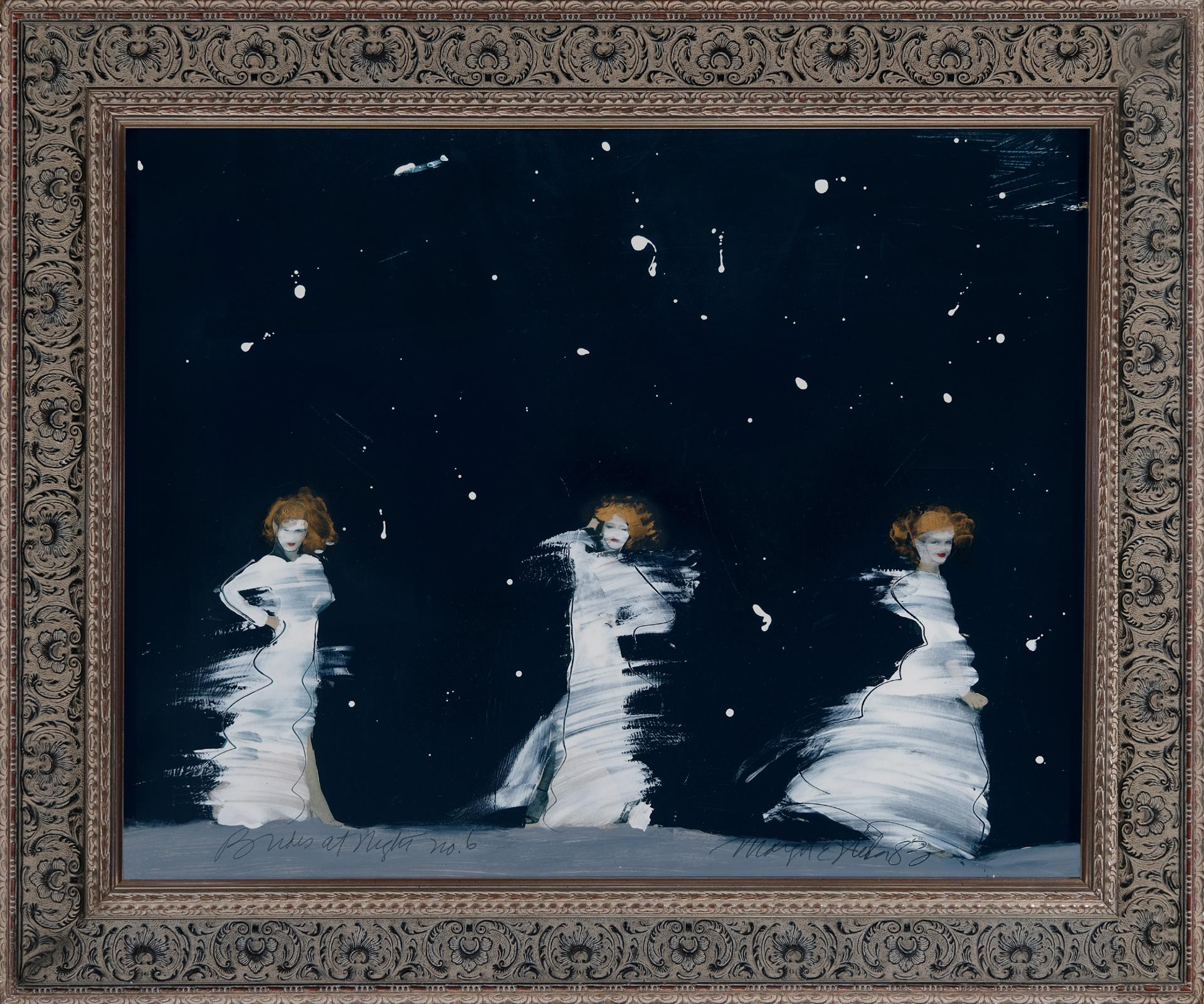Brides at Night  No. 6, Collage, American Artist, Mixed Media, Dancing,Romance