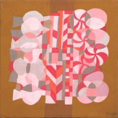 Peppermint, Abstract Painting, Acrylic Canvas Collage, Pink, Red, Gray, Orange