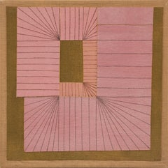 Untitled (Abstract in pink, coral, brown and black)