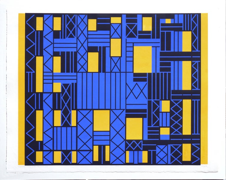 Construction Over Yellow Sky Geometric Abstract - Print by Margo Hoff
