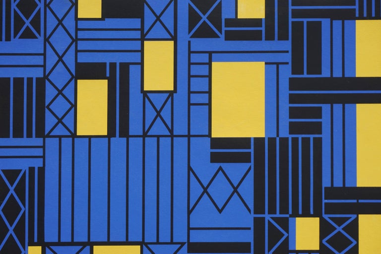 Construction Over Yellow Sky Geometric Abstract - Abstract Geometric Print by Margo Hoff
