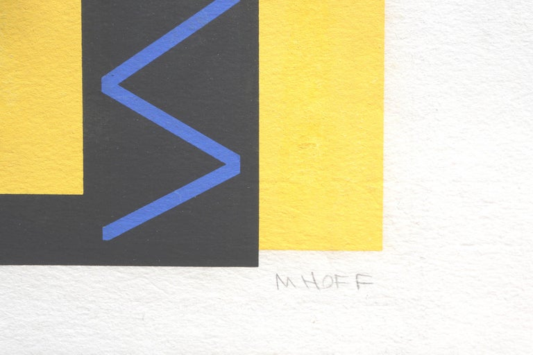 Wonderful screen print abstract in black, blue and yellow by Margo Hoff (American, 1912-2008), circa 1980. Titled lower left and signed lower right. Image size: 22