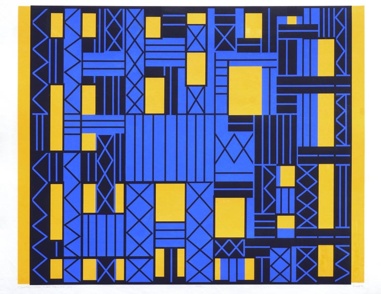 Margo Hoff Abstract Print - Construction Over Yellow Sky Geometric Abstract