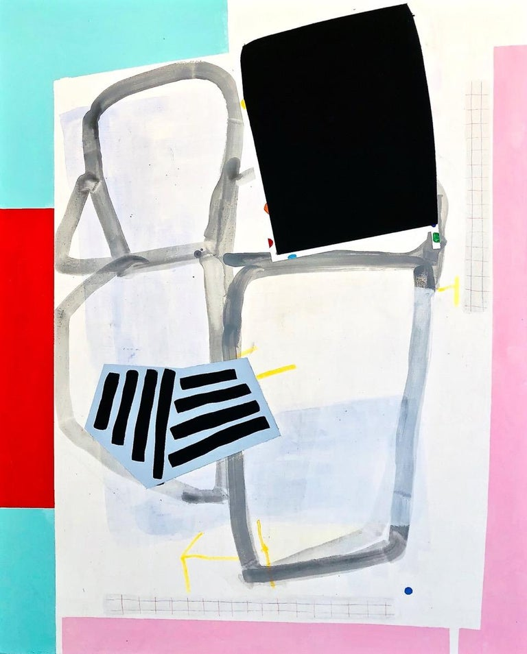 """Margo Margolis Abstract Painting - """"Part""""  Medium Sized Abstraction of Black, Pink, Teal, Read, Gray, and White"""""""