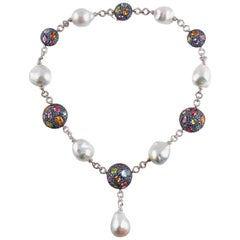 "Margo McKinney Pearl Gemstone Necklace ""Cookie Collection"""