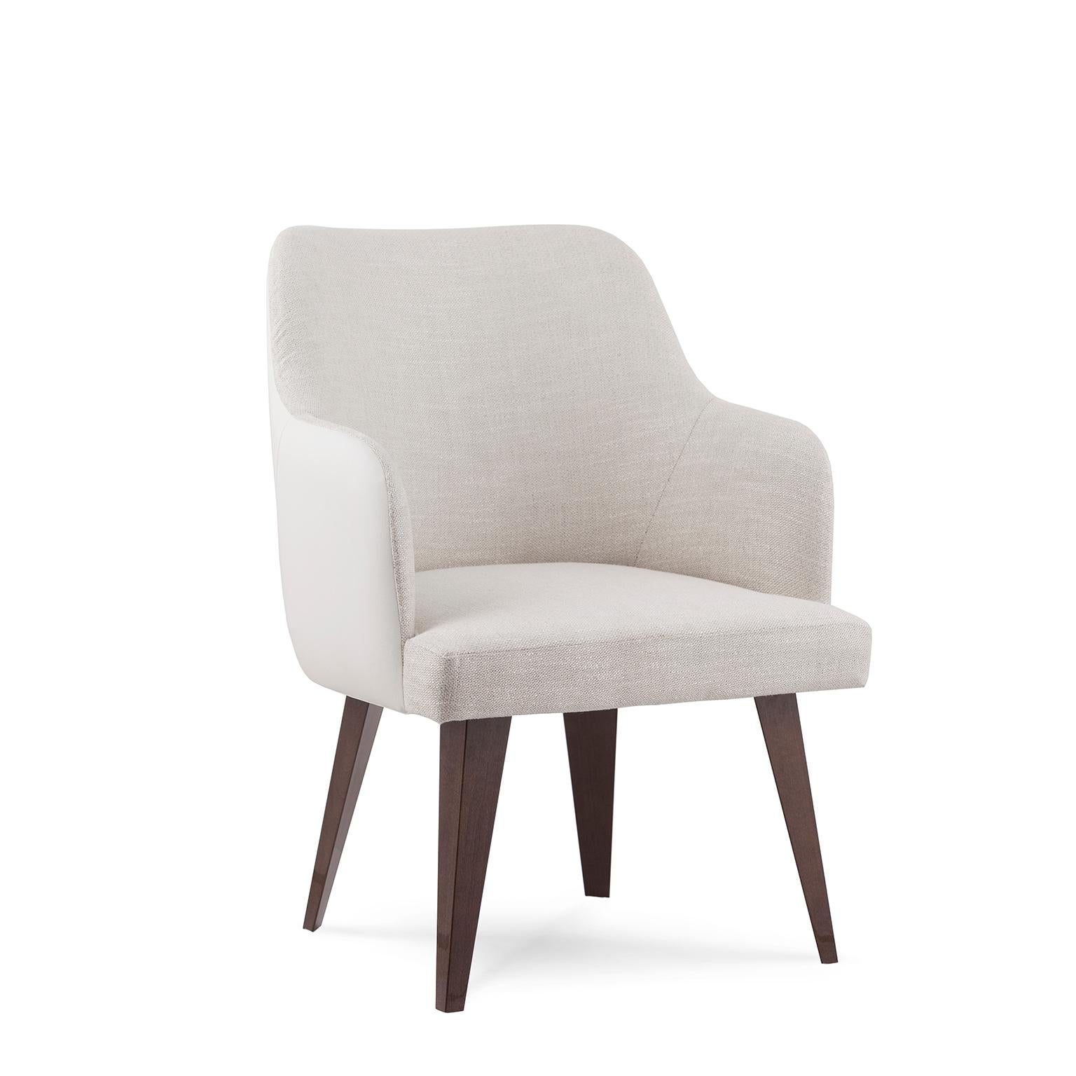 Margot Chair Brown Stained Beech White Faux Leather Beige Cotton-Linen Fabric