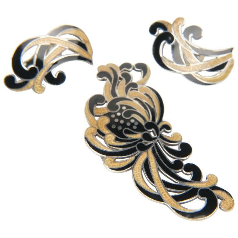 "Margot de Taxco ""Chrysanthemum"" Champlevé Converter Brooch and Earrings For Sale"