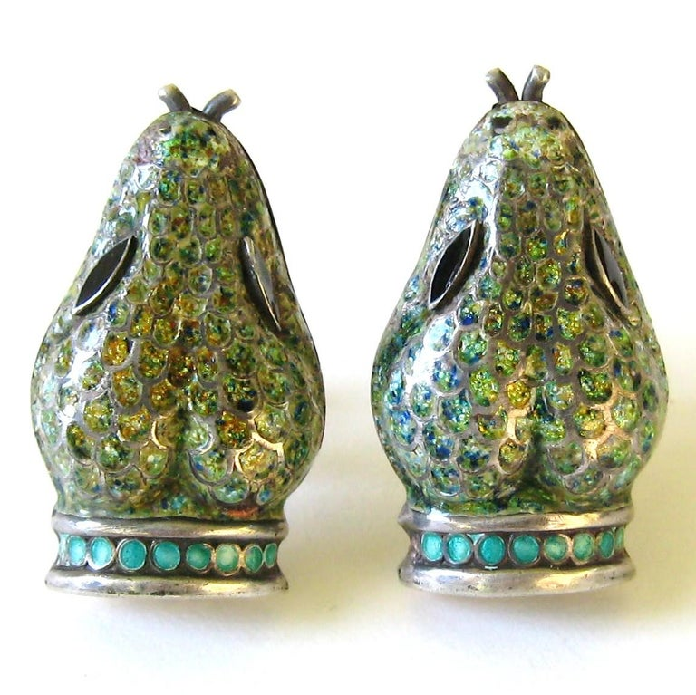 """Again, Not a reproduction but the real thing.  Stunning enamel work on these serpent Earrings. Minor enamel wear as expected with their age  """"MARGOT DE TAXCO, 5554 (design number), HECHO EN MEXICO, 925. Eagle 16 assay mark. Measures 1.5″ long. Screw"""