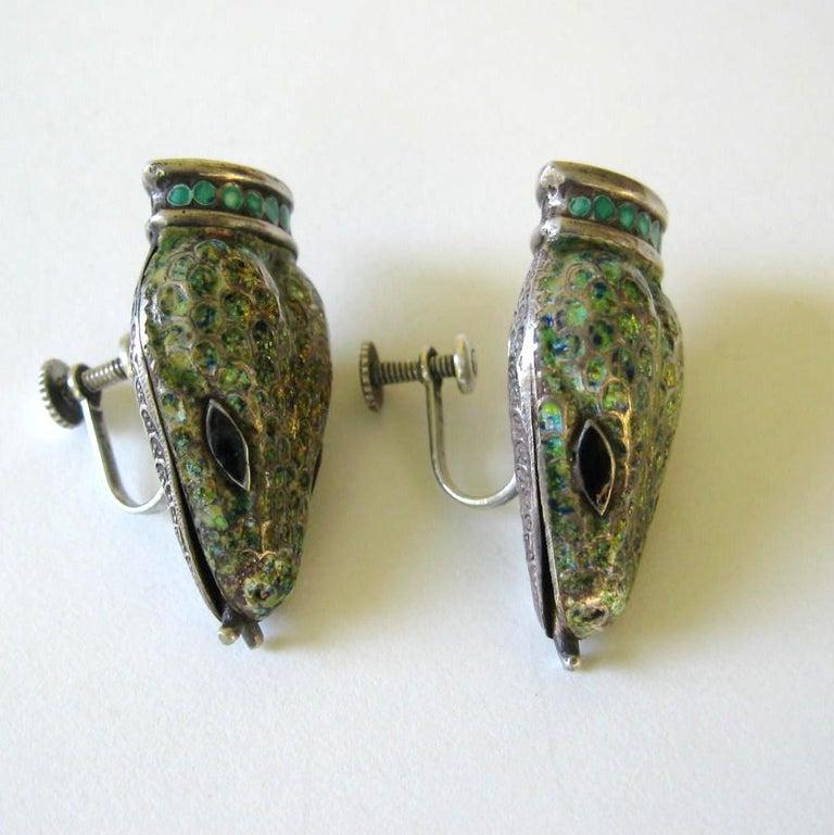 Margot De Taxco Enamel Snake Earrings  In Good Condition For Sale In Wallkill, NY