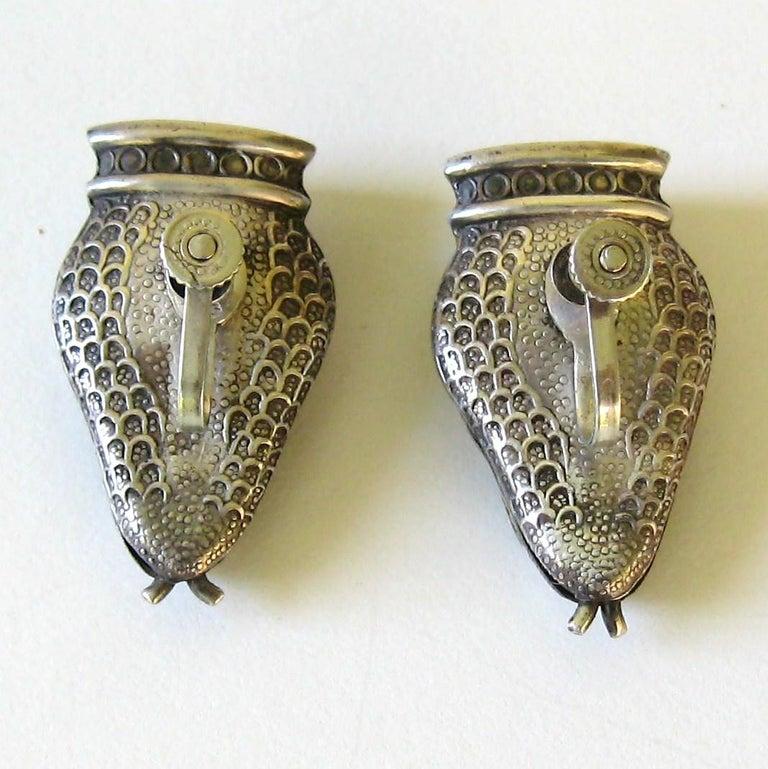 Women's or Men's Margot De Taxco Enamel Snake Earrings  For Sale