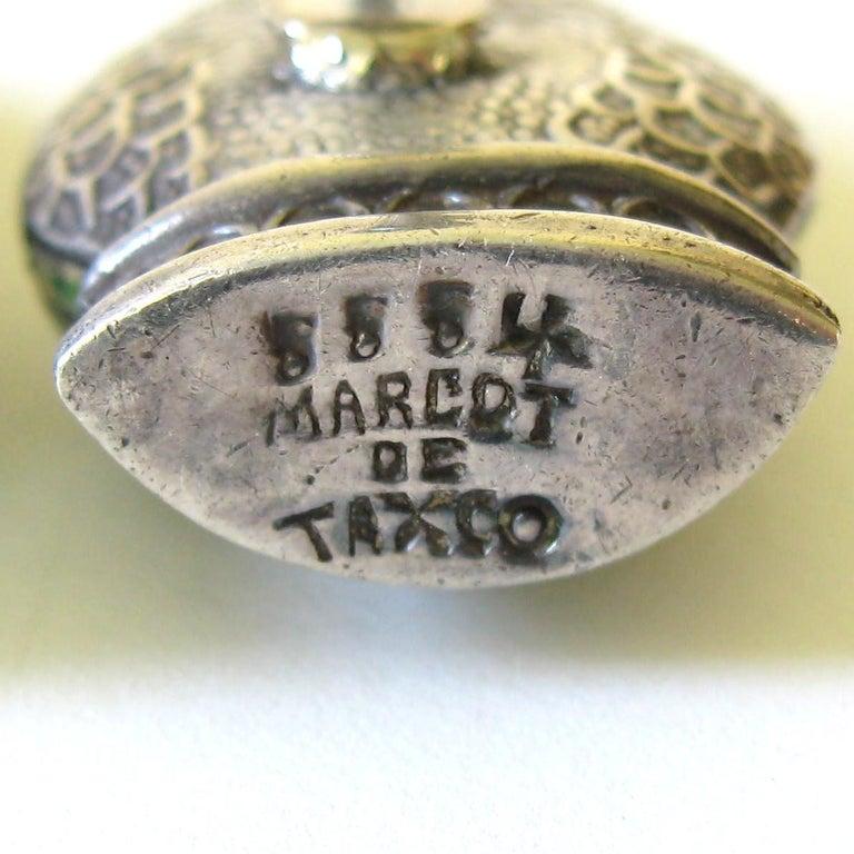 Margot De Taxco Enamel Snake Earrings  For Sale 4