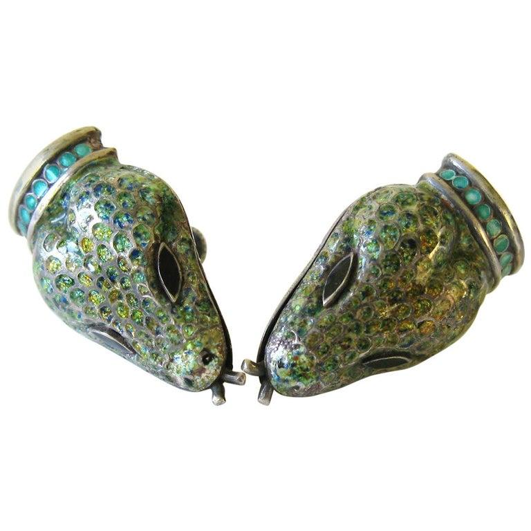 Margot De Taxco Enamel Snake Earrings  For Sale