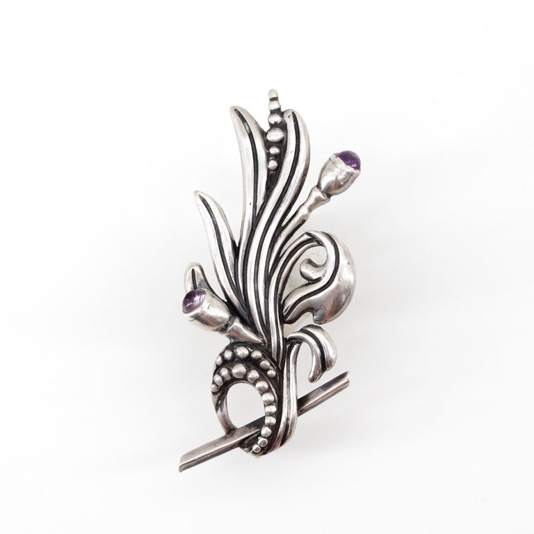 Modern Margot de Taxco Silver Floral Spray Brooch with Iolite For Sale