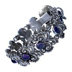 Margot de Taxco Sterling Silver Amethyst Bracelet, C.1960