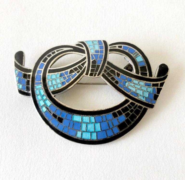 Women's Margot de Taxco Sterling Silver Enamel Mexican Modernist Necklace or Brooch For Sale