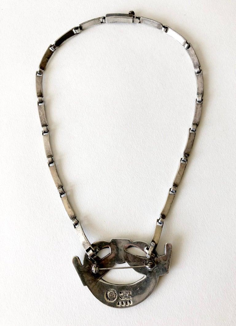Margot de Taxco Sterling Silver Enamel Mexican Modernist Necklace or Brooch For Sale 1