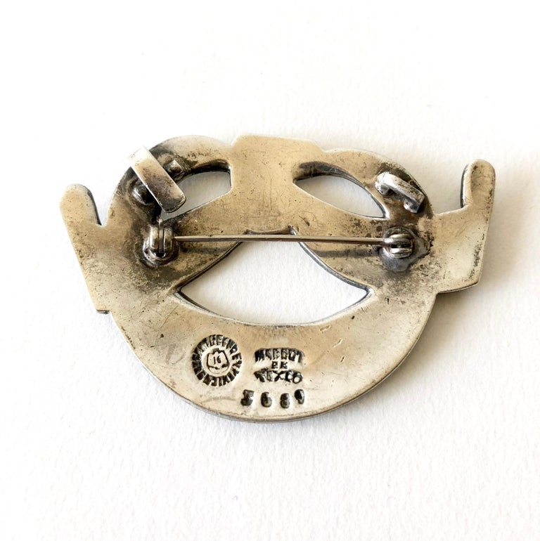 Margot de Taxco Sterling Silver Enamel Mexican Modernist Necklace or Brooch For Sale 2