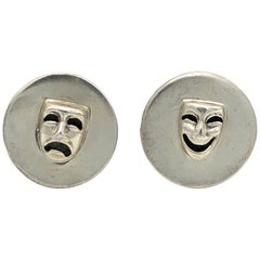 Margot De Taxco Vintage Silver Mask Cufflinks Face Mexico