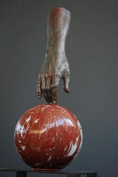 Manuel Hand Bronze Sculpture Marble Contemporary In Stock