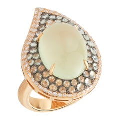 Margot McKinney 18 Karat Gold 16.25 Carat Prehnite Ring with 3.85 Carat Diamonds