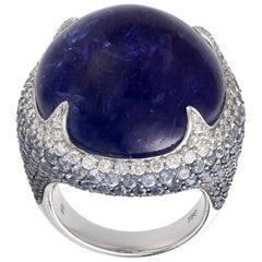 Margot McKinney 18 Karat Gold 60.47ct Tanzanite Ring, Diamonds, Blue Sapphires