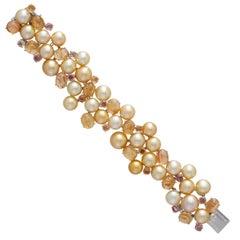 Margot McKinney 18 Karat Gold Bracelet Golden Pearls, Yellow Topaz and Sapphire