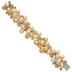 Margot McKinney 18 Karat Gold Bracelet Golden Pearls, Yellow Topaz and Sapphire