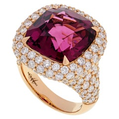 Margot McKinney 18 Karat Gold Claret Rhodolite Ring Surrounded by White Diamonds