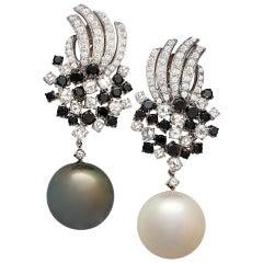 Margot McKinney 18 Karat Gold Earrings with White/Black Diamonds, Pearl Drops