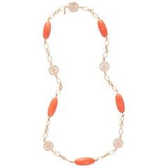 Margot McKinney 18 Karat Gold Necklet with 5 Pieces Coral and 5 Diamond Emblems