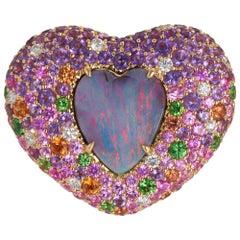 Margot McKinney 18 Karat Gold Ring with Opal, Diamond, Amethyst and Sapphire