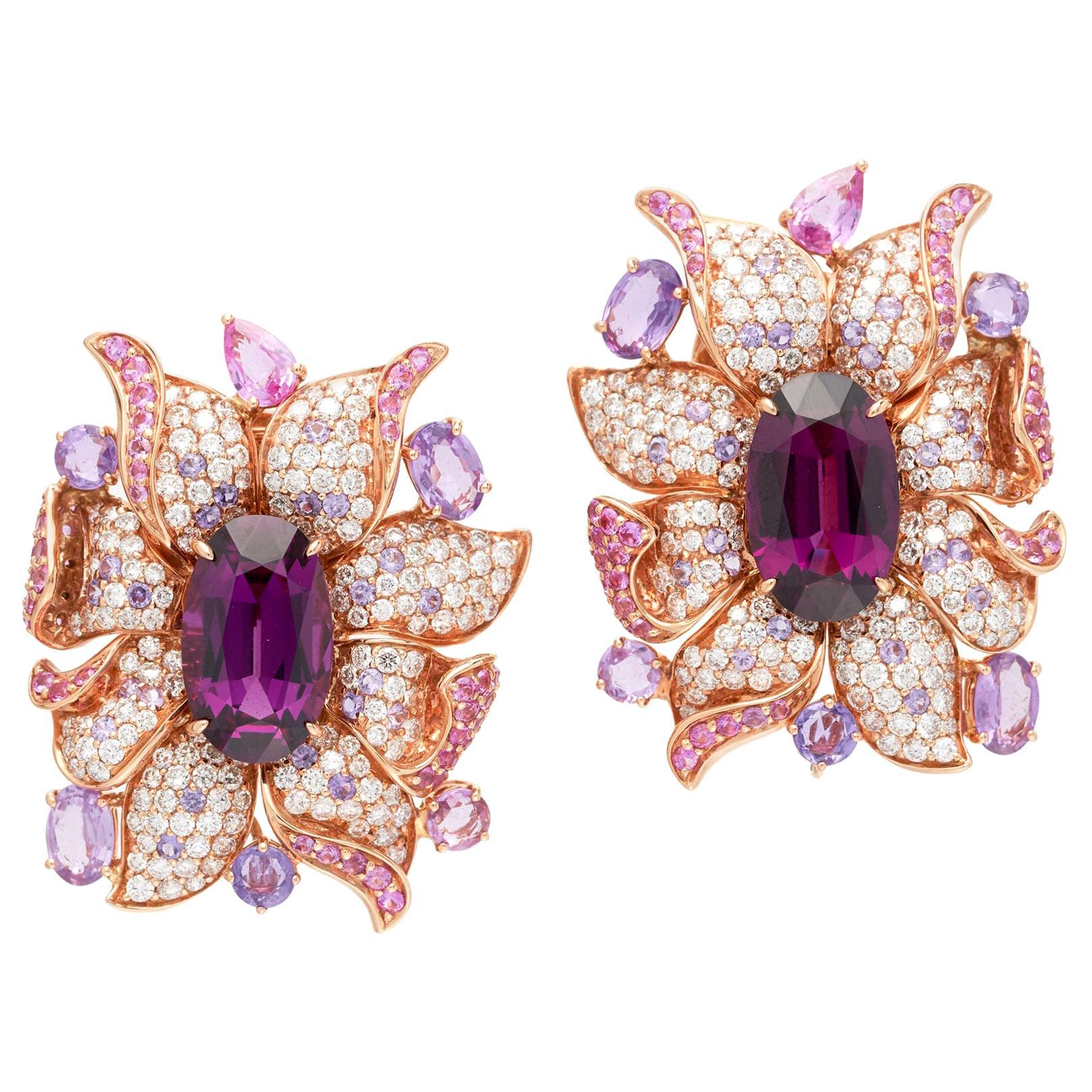 Margot McKinney 18 Karat Gold Umbalite Garnet, White Diamonds, Sapphire Earrings