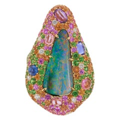 Margot McKinney 18 Karat Yellow Gold Ring with Opal, Tsavorite and Pink Sapphire