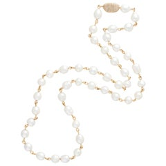 Margot McKinney 18 Karat Yellow Gold South Sea Pearl and Diamond Pebble Necklet