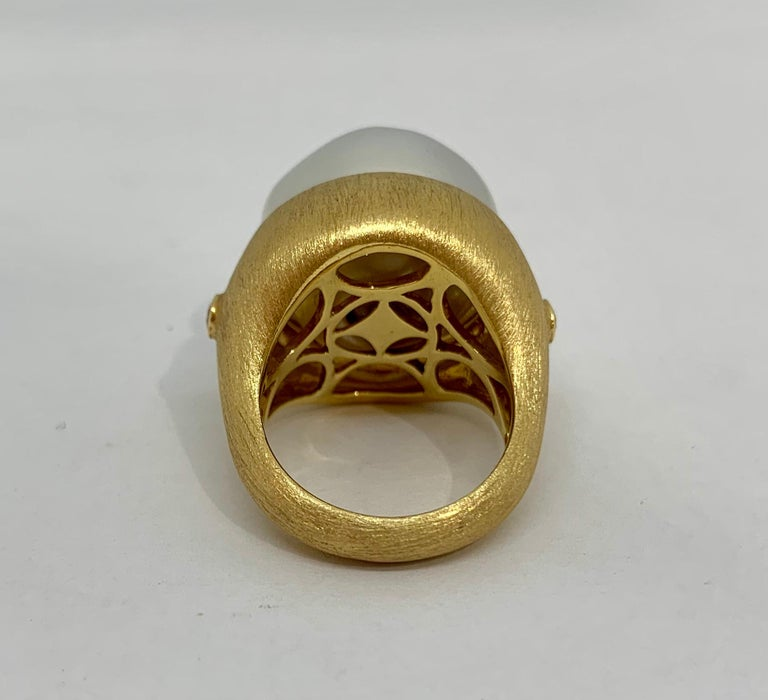 Margot McKinney 18K Brushed Finish Gold Ring with South Sea Pearl and Diamonds In New Condition For Sale In Brisbane AU , Queensland