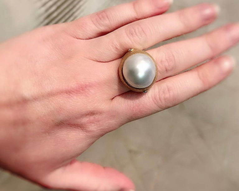 Women's Margot McKinney 18K Brushed Finish Gold Ring with South Sea Pearl and Diamonds For Sale